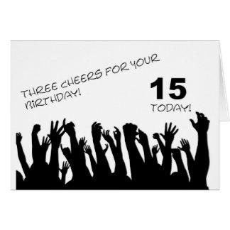15ème Carte d'anniversaire avec les foules de