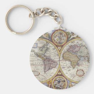 1626 cartes vintages du monde porte-clé rond