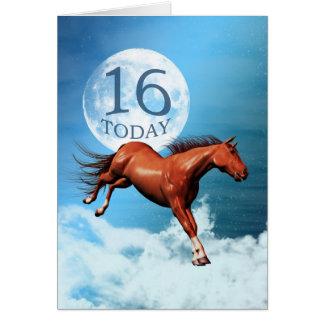 16 années de carte d'anniversaire avec le cheval