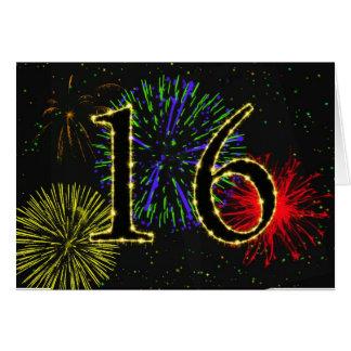 16ème Carte d'anniversaire avec des feux
