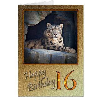 16ème Carte d'anniversaire avec un léopard de