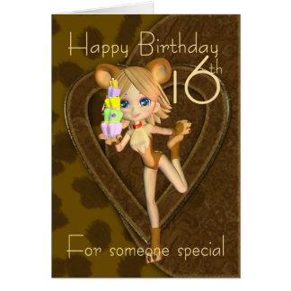 16ème Carte d'anniversaire, collection d'animal de