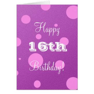 16ème carte d'anniversaire heureuse pour la fille
