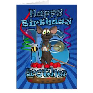16ème Carte d'anniversaire pour le frère - souris