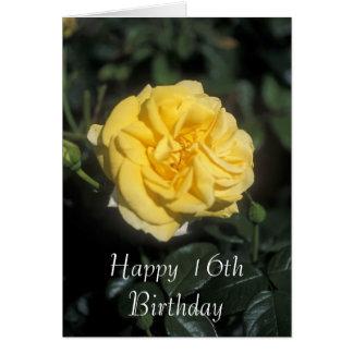 16ème carte heureuse de fleur d'anniversaire