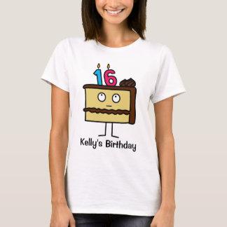 16ème Gâteau d'anniversaire avec des bougies T-shirt