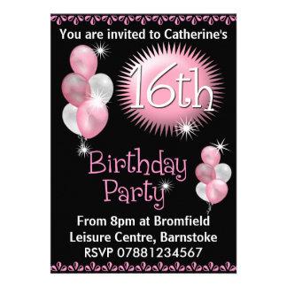 16ème Invitation de fête d'anniversaire