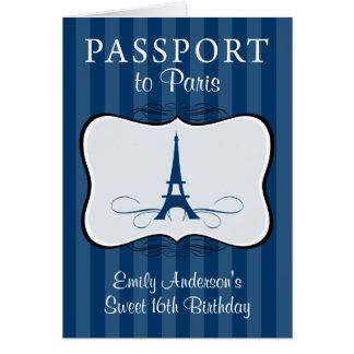 16ème invitation de passeport d'anniversaire de