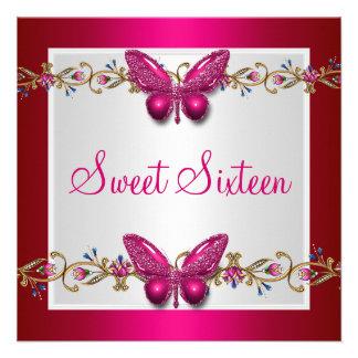 16ème papillon Fushia d anniversaire de sweet sixt Invitations