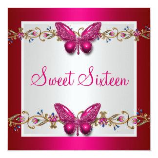 16ème papillon Fushia d'anniversaire de sweet Invitations