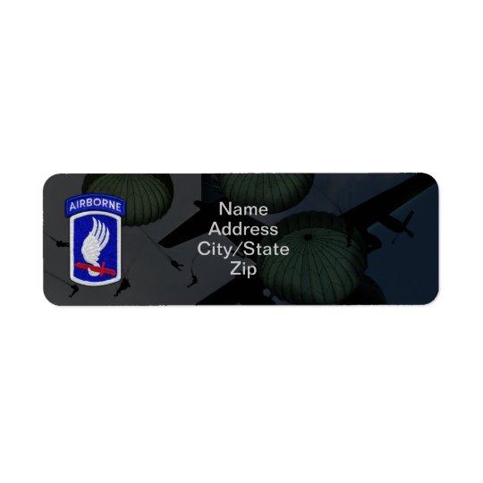 173rd correction de soldats de ciel de brigade aér étiquette d'adresse retour