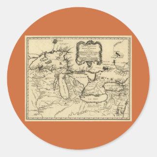 1755 Great Lakes et nouvelle carte de la France/du Autocollant Rond