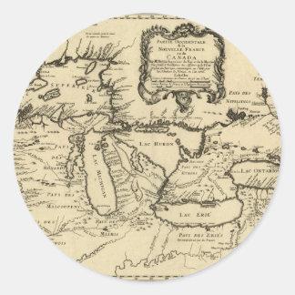 1755 Great Lakes et nouvelle carte de la France/du Autocollants Ronds