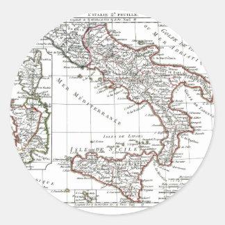 1806 carte - L Italie lessive Autocollants Ronds