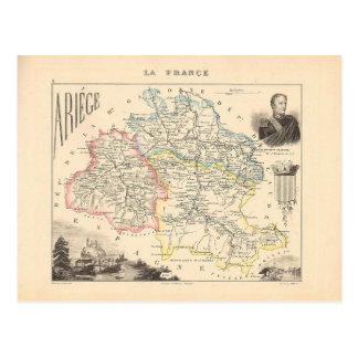 1858 carte de département d'Ariege, France