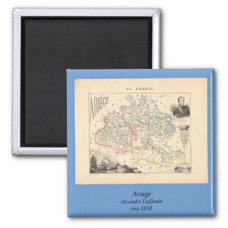 1858 carte de département d'Ariege, France Magnets Pour Réfrigérateur