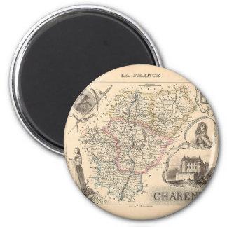 1858 carte de département de Charente, France Magnet Rond 8 Cm