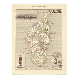 1858 carte de département de Corse Corse France Invitations Personnalisées