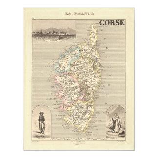 1858 carte de département de Corse, Corse, France Invitations Personnalisées