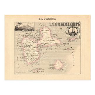 1858 carte de département de la Guadeloupe, France