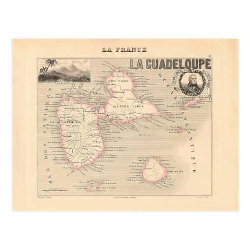1858 carte de département de la Guadeloupe, France Cartes Postales