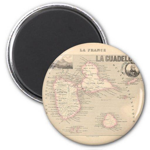 1858 carte de département de la Guadeloupe, France Aimant Pour Réfrigérateur