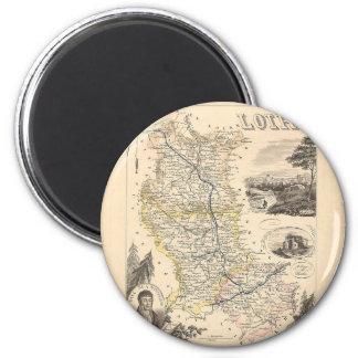 1858 carte de département de la Loire, France Magnets Pour Réfrigérateur