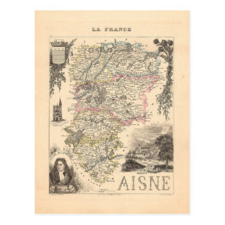 1858 carte de département de l'Aisne, France