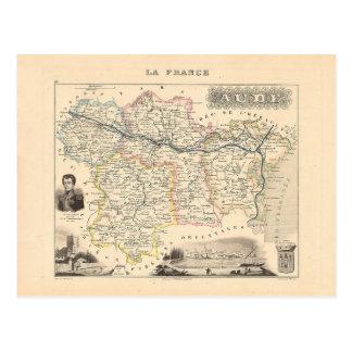 1858 carte de département de l'Aude, France Carte Postale