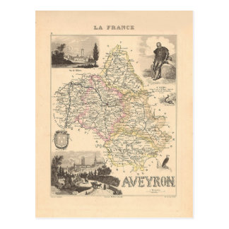1858 carte de département de l'Aveyron, France