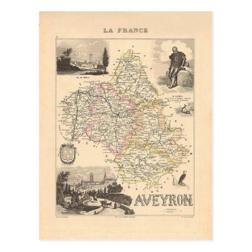 1858 carte de département de l'Aveyron, France Carte Postale