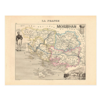 1858 carte de département du Morbihan, France