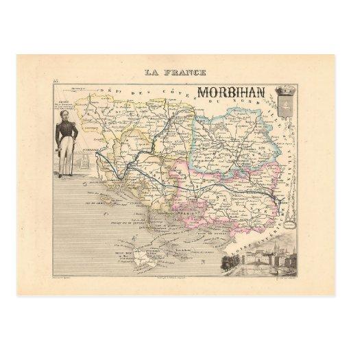 1858 carte de département du Morbihan, France Cartes Postales