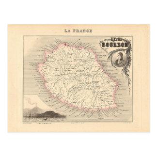 1858 carte - Ile Bourbon (la Réunion de La) - la