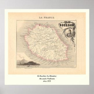 1858 carte - Ile Bourbon (la Réunion de La) - la F Affiches