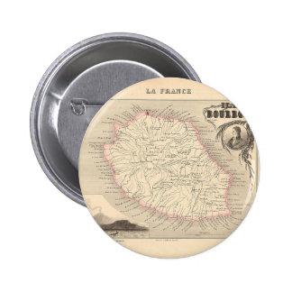 1858 carte - Ile Bourbon (la Réunion de La) - la F Badges Avec Agrafe