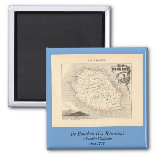 1858 carte - Ile Bourbon (la Réunion de La) - la F Aimant