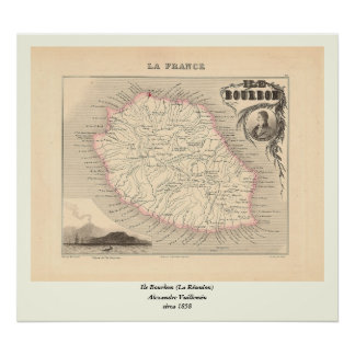 1858 carte - Ile Bourbon (la Réunion de La) - la Posters