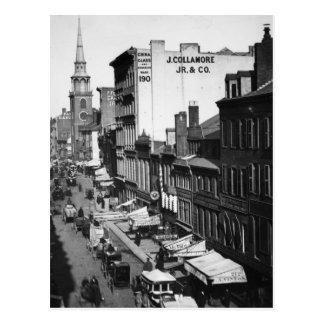 1859 :  Le trafic et magasins sur la rue de Carte Postale