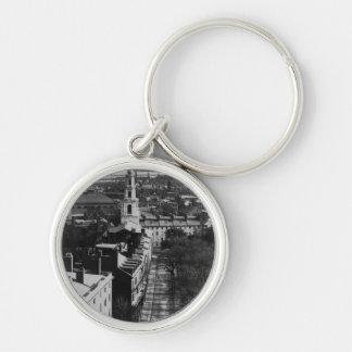 1859 :  Une vue de Boston de la Chambre d'état Porte-clé Rond Argenté