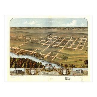 1870 nouveaux Ulm, vue d'oeil d'oiseaux de Carte Postale