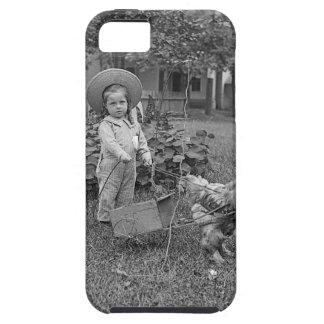 1880's chariot adorable de fille et de coq dans le coque Case-Mate iPhone 5