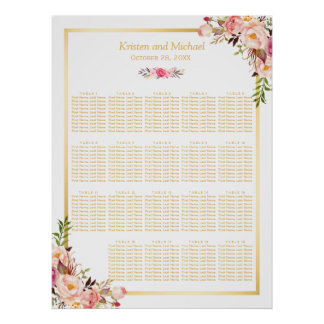 18+ Tableaux épousant le cadre floral d'or de Poster