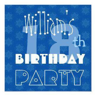 18ème bleu de l'anniversaire de l'ado moderne carton d'invitation  13,33 cm