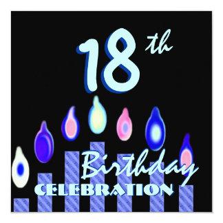 18ème Bougies rayées d'Aqua bleu de fête Carton D'invitation 13,33 Cm