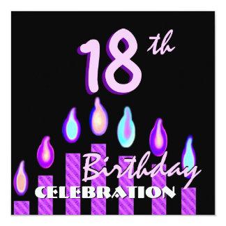 18ème Bougies rayées roses pourpres de fête Carton D'invitation 13,33 Cm