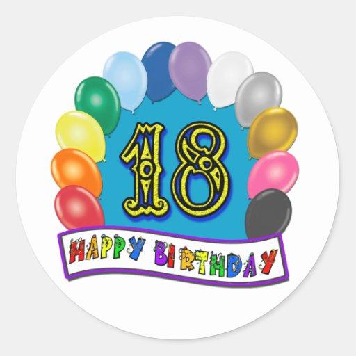 18ème Cadeaux d'anniversaire avec la conception Autocollants Ronds