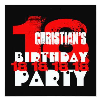 18ème fête d'anniversaire de NOIR ROUGE V10 18 an Carton D'invitation 13,33 Cm