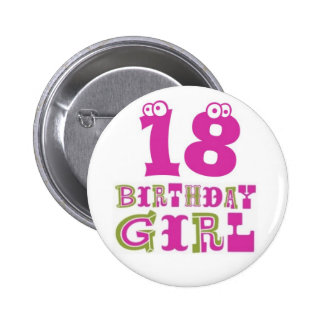 18ème Insigne de bouton de fille d'anniversaire Pin's