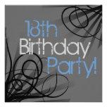 18ème Invitations de fête d'anniversaire